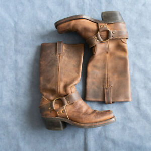 Frye USA Harness Womens 5.5 M Saddle Leather Motorcycle Boots 77300-3 Square
