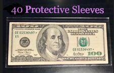 40 SEMI-RIGID Vinyl Money Protector Sleeves US Dollar Bill CURRENCY HOLDERS BCW