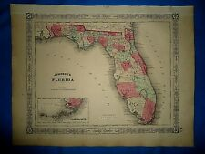 Vintage Civil War Era 1864 Map ~ FLORIDA ~ Old & Authentic ~ Free S&H