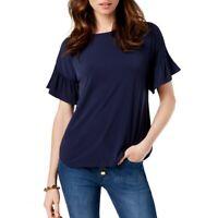 MICHAEL KORS NEW Women's Ruffled-sleeve Casual Shirt Top TEDO