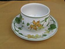 "VILLEROY & BOCH   ""GERANIUM""  GRAVY BOAT ON ATTACHED UNDERPLATE"