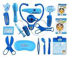 Deluxe Blue Doctor Nurse Medical Kit Playset for Kids Pretend Game Tools Toy New
