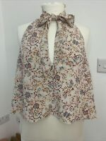 Zara Ladies W/b Collection - Eur Med, High Neck  Floral Top