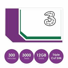 Three UK Pay as You Go SIM Card, 300 Mins, 3000 Texts, 12GB Data