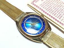 Stunning Bolivia Electra Space Style Blue Dial Gold Toned Wristwatch - Free S&H