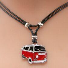 Collier pendentif camping car rouge cordon noir  - red camper van cord necklace