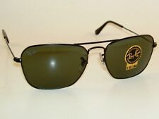 New RAY BAN Sunglasses CARAVAN Matte Black RB 3136 W3338 G-15 Green Lenses 55mm