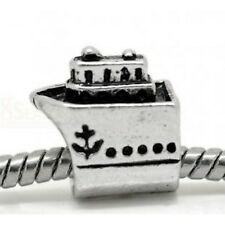 ANTIQUE  SILVER CRUISE SHIP #2 SPACER BEAD CHARM **  VACATION TRAVEL