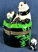 Pandas in open pasture ceramic trinket box wildlife decor