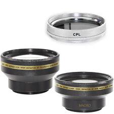 30mm Wide Angle + Telephoto Lens Kit + CPL Filter for Sony Handycam DCR DVD106E