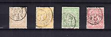 Nederland postbewijszegels 1-2-3-6 gestempeld, de groene met een dunne plek