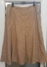 Viyella Ladie's Brown Paterned Maxi Flared Fully Lined Skirt Size 16