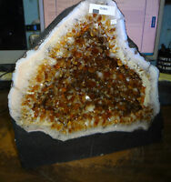 BEAUTIFUL 11 IN BRAZILIAN CITRINE CRYSTAL CATHEDRAL CLUSTER GEODE TERRIFIC PRICE