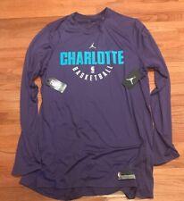2fa9a7b5246644 Men s Nike Jordan Charlotte Hornets Practice Long Sleeve Shirt 2xlt Purple