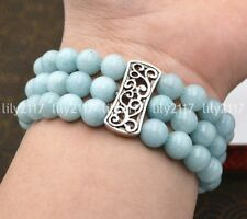 Natural 3 rows 8mm Aquamarine Beads Stretch Tibetan silver Gems Bracelet 7.5''