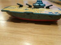 Vintage JAPAN Made, Navy Ship Aircraft Carrier Tin Toy (12 cm) Cannons VGUC