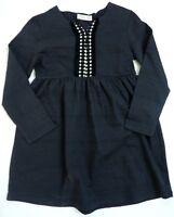 ZARA Girls GREY Jacquard Stripe Jersey Folk Long Sleeve Dress 9-12y £17.99