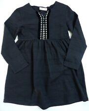Zara Girls Gris Jacquard Stripe Jersey Folk Vestido Manga Larga 9-12y 17.99 £