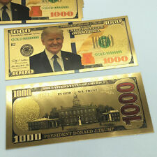 2pc US President Donald Trump New Colorized $1000 Dollar Bill Gold Foil Banknote