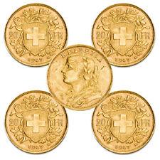 5 x Gold Vreneli 20 Schweizer Franken Schweiz 1897-1949 Verschiedene Jahrgänge