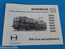 Marklin 3034-3035-3036-3037-3038-3039-3040   Replica booklet 0272