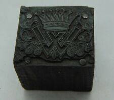 Vintage Printing Letterpress Printers Block Wx Crown