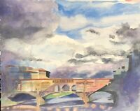 "Original watercolor painting by artist Zina Andresini Poliszuk ""Ponte Vecchio"""