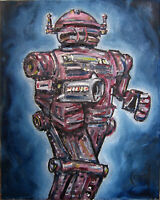 ARMED ROBOT 8x10 canvas Mech art oil painting retro original signed CROWELL US