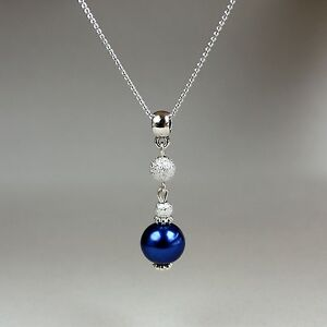 Midnight blue pearl silver chain pendant necklace party wedding bridesmaid gift