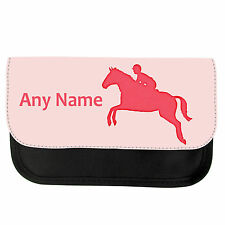 PERSONALISED HORSE JUMP SCHOOL GIRLS BOYS PENCIL CASE/MAKE UP BAG BIRTHDAY XMAS