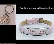 Rescue Dog Cat Leather Bracelet Paw Print Keychain Stainless Steel Gift Set Pink