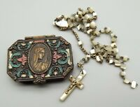 Antique Czech Rosary Box & Crucifix MOP Enamel Czechoslovakia Art Nouveau Vtg