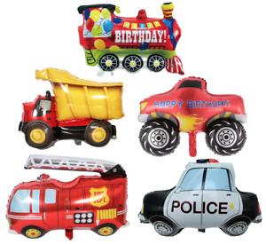 Vehicle Monster Dumper Truck Fire Engine Police Train Birthday Balloon