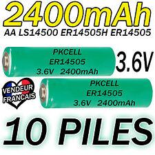 10 PILES ACCUS LITHIUM 3.6V AA ER14505 LS14500 ER14505H Li-socl2 2400Mah BATTERY
