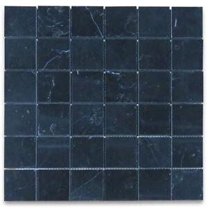 "N25XP Nero Marquina Black Marble 2""x2"" Square Mosaic Tile Polished Wall Flooring"