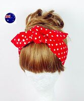 Women Girl Retro Vintage Boho bohemian Polka Dot bow scarf Hair head band tie up