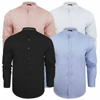 Brave Soul Magnus Mens Shirt Plain Grandad Collar Long Sleeve Casual Top