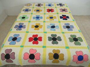 RUSTIC Vintage Textured Polyester Applique 4-LEAF CLOVER, Shamrock Quilt; TWIN