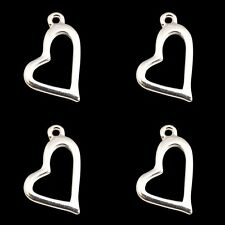 ❤ 20 x Silver Plated OPEN HEART Charms 20mm Jewellery Making Findings UK ❤