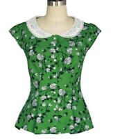 22 24 26 PLUS SIZE TOP 1950S VINTAGE STYLE GREEN PETER PAN LACE COLLAR BLOUSE UK