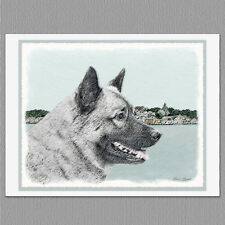6 Norwegian Elkhound Dog Blank Art Note Greeting Cards