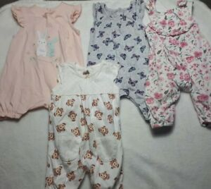 0-3 Months Baby Girls Soft  Cotton Dungarees Rompers BUNDLE Bunny Floral