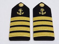 MARINE NAVAL NAUTICAL YATCH CAPTAIN HARDBOARD EPAULETS 1 pair  4 GOLD BARS