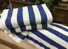 4 Pack New Large Beach, Resort Pool Towels in Cabana Stripe Blue 30x70
