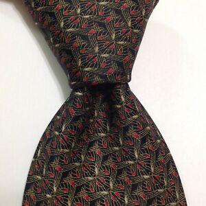 BRIONI Men's 100% Silk XL Necktie ITALY Luxury Designer Geometric Black/Gold GUC