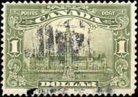 1929 Used Canada $1.00 F+ Scott #159 King George V Scroll Stamp