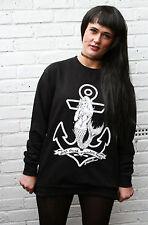 Sirena Mar Lujuria Agua gobbolino de gran tamaño holgados Jumper Goth Hipster Indie Calavera
