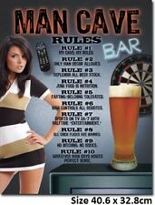 Man Cave Rules Tin Sign 1713  Made in USA   Size 40.6cm x 31.8cm