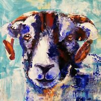 "ORIGINAL Acrylic  PAINTING sheep Yorkshire 16"" X 16"" on box canvas Marilyn Allis"