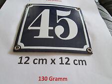 Hausnummer Emaille  Nr. 45 weisse Zahl auf blauem Hintergrund 12 cm x 12 cm